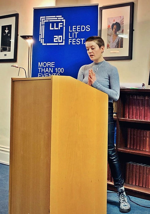 Caitlin Stobie reading at Leeds Lit Fest 2020