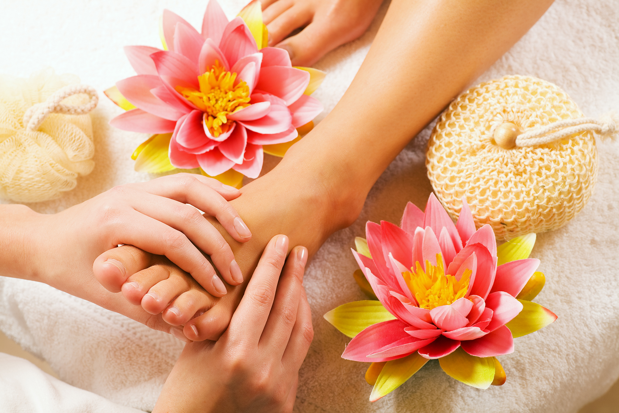 Foot massage by reflexologist