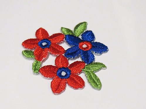 #127 Flower - Three Red and Blue
