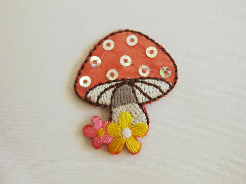 #38 Mushroom - Peach with Sequins