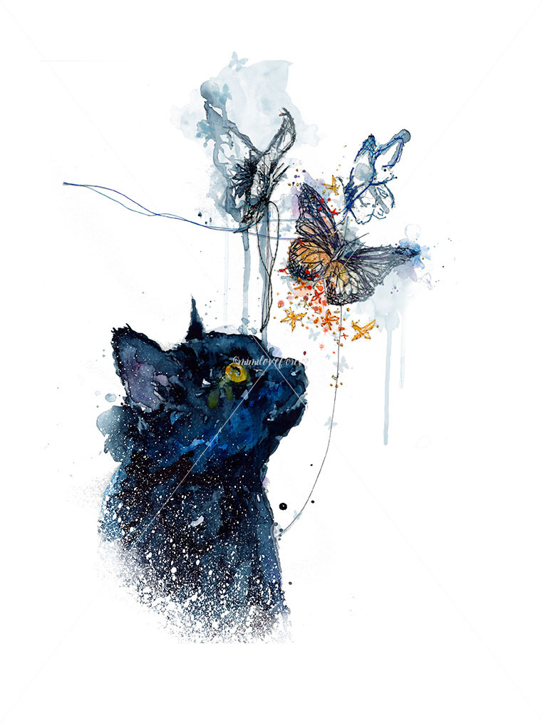 Black Cat watercolour with hand embroidery by Mimiloveforever. Art print
