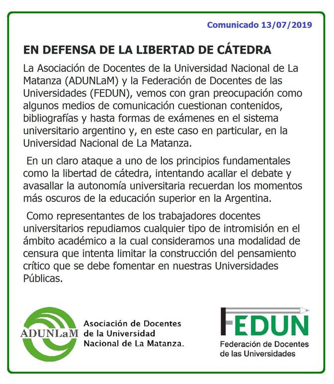 """Comunicado de los trabajadores docentes universitarios en ADUNLaM y en FEDUN, """"En defensa de la"""