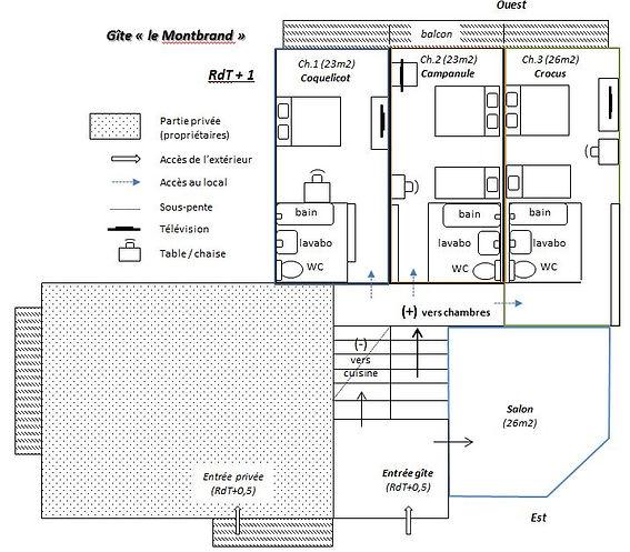 Gite Vercors Autrans le Montbrand - Plan RdT +1