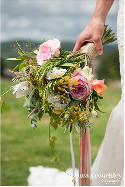 bouquet and hand