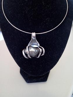 Collier Obsidienne noire argentée 34