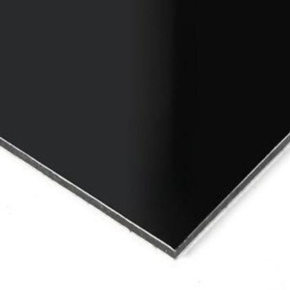 "Gloss Black/Black 3mm 48""x96"" Aluminum Composite / 0.008"""