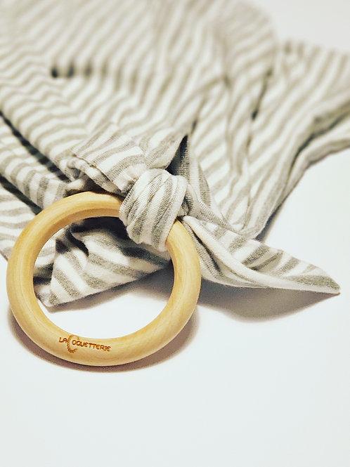 Doudou anneau ligné gris-blanc