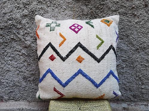 Coussin blanc avec lignes de couleurs - 40x40