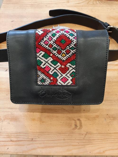 SABAH - Sac à main en cuir et kilim - Noir