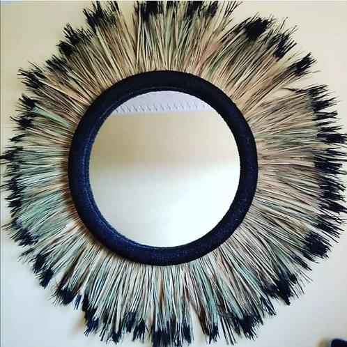 M'BRAJA - Miroir rond 30/100 avec Raphia