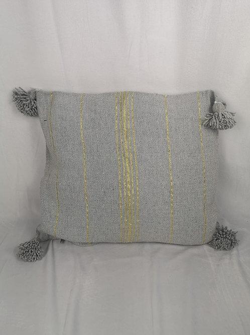 Coussin gris clair à pompons, liseret doré - 45x45