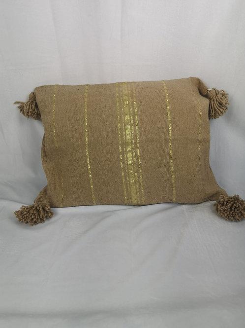 Coussin Sable à Pompons, liseret doré - 60x45