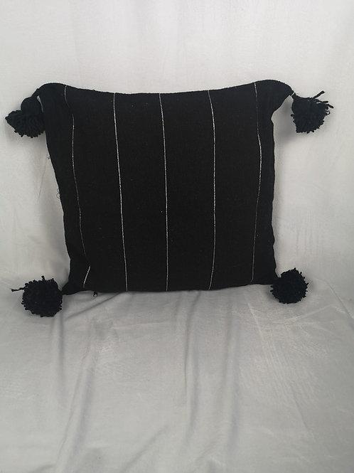 Coussin noir à Pompons, liseret argenté - 45x45