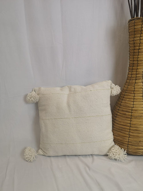 Coussin blanc à Pompons, liseret doré - 45x45