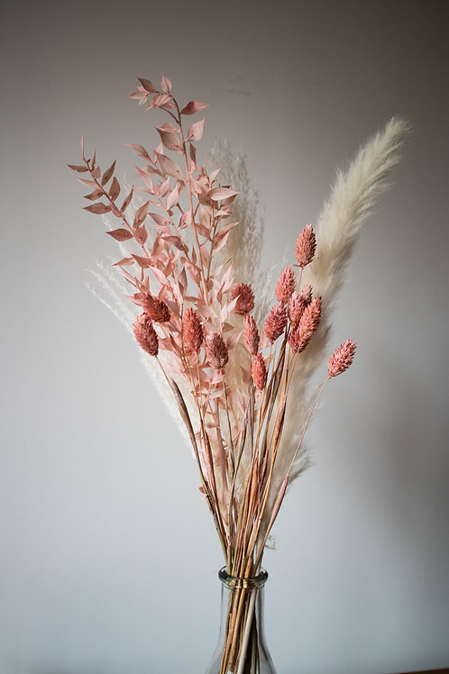 Bleached Pampas and Pink Letterbox Dried Flowers