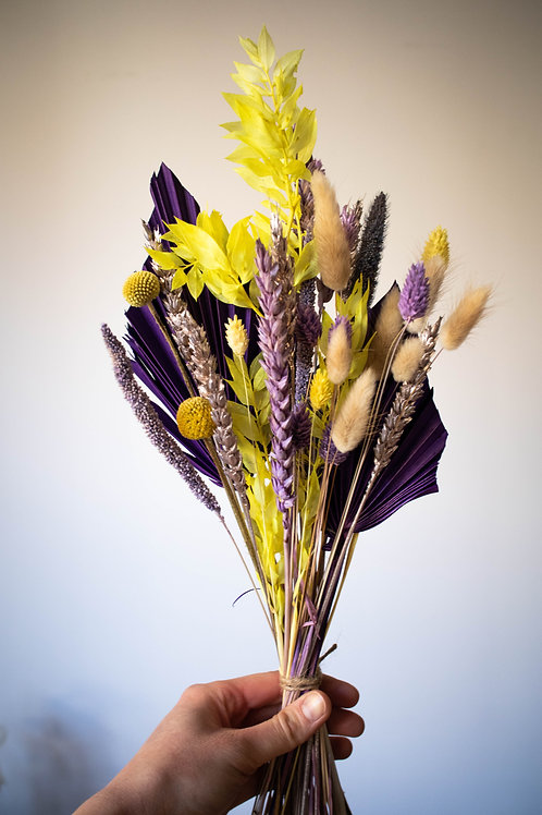Bright Purple and Yellow Dried Bouquet