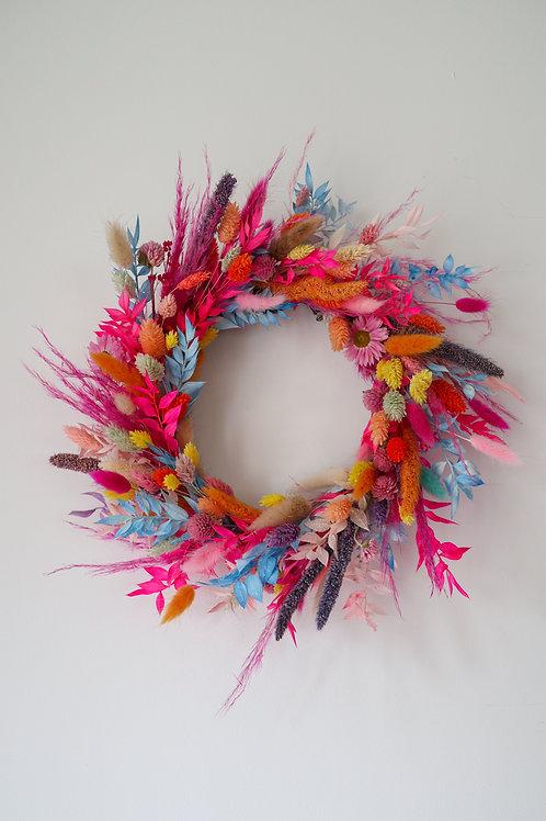 Rainbow Dried Flower Wreath