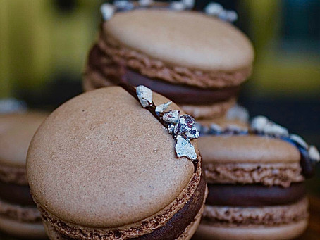 Raspberry & Dark Chocolate Macarons
