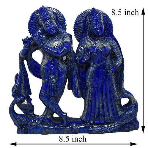 Radha Krishna Lapis Lazuli Gemstone Hand Carved Statue