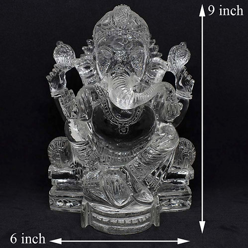 Lord Ganesha in Crystal Hand Carved Statue