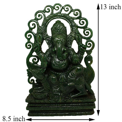 Lord Ganesha in Green jade Gemstone Hand Carved Statue