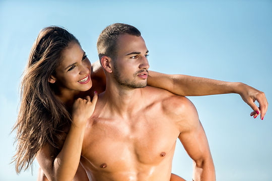 happy couple after using penis stretching device