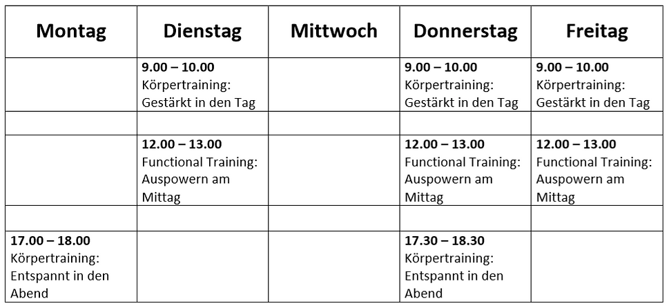 Stundenplan Online Trainings (ab 27.04.2020)
