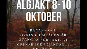 Stängt för jakt 8-10 oktober