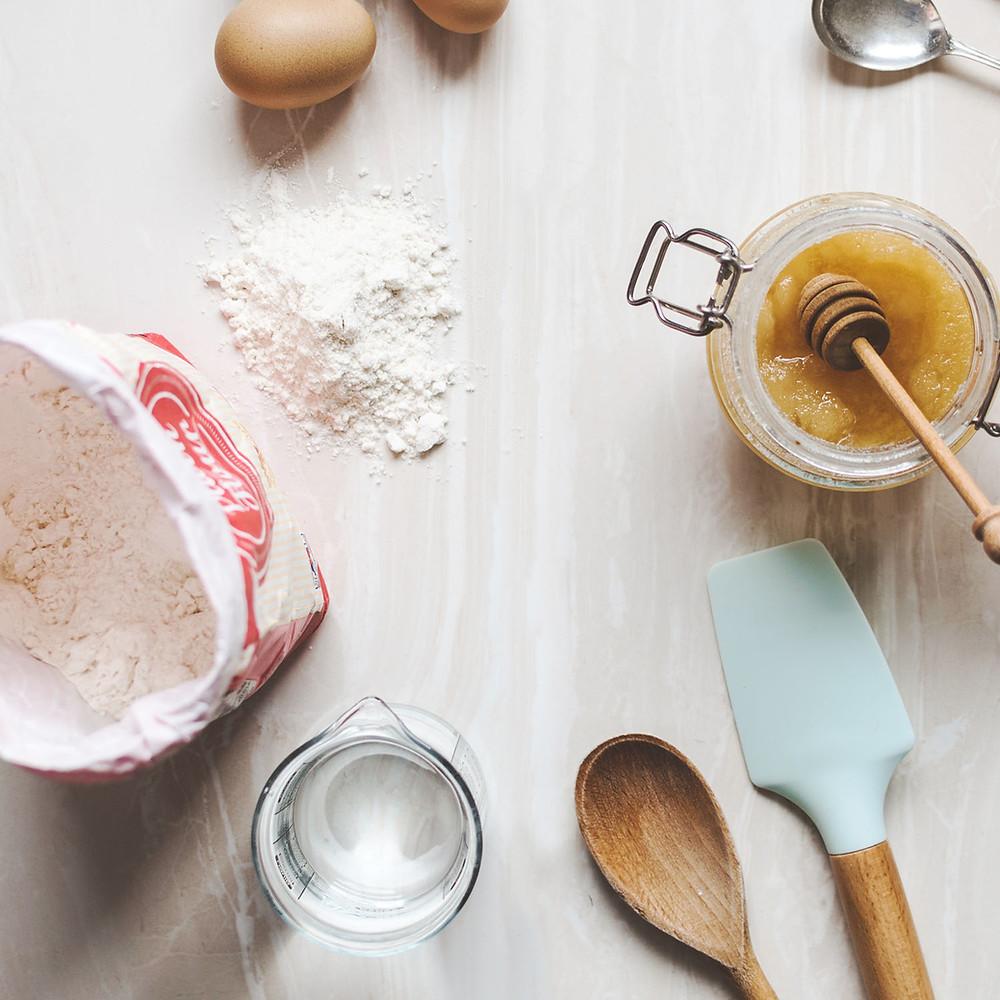 flour honey egg water baking