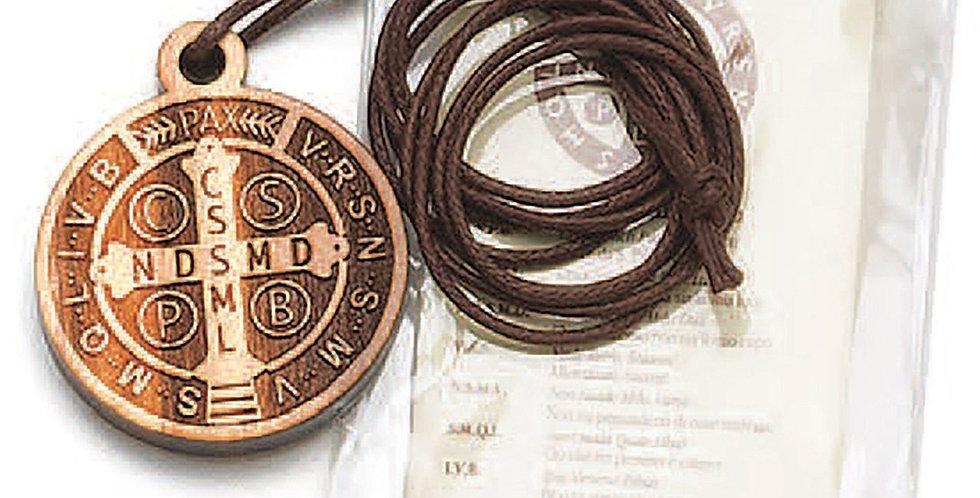 Saint Benedict Wooden Pocket Token Necklace