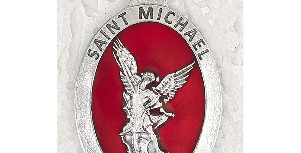 Saint Michael Medal Red Enamel