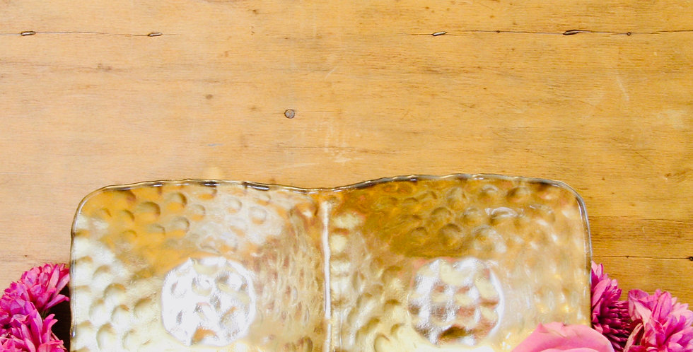 Silver Hammered Glass 2 Section Server