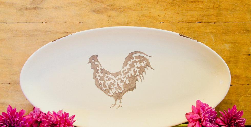 Stamped Rooster Ceramic Platter