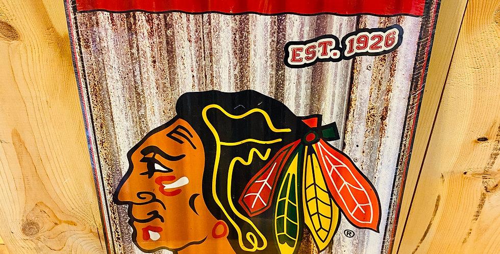 Blackhawks Corrugated Metal Wall Art!