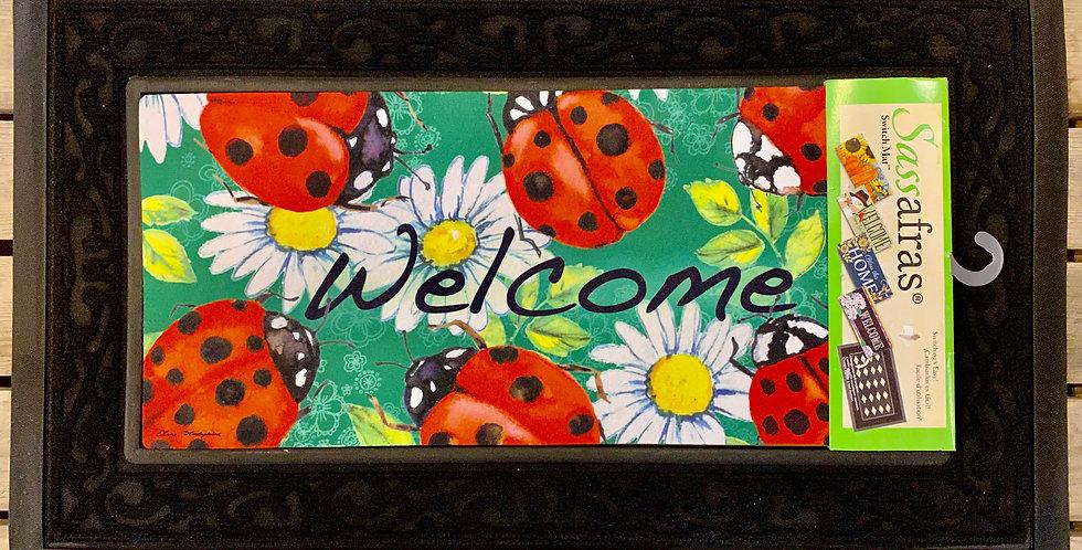 Ladybugs on Green Sassafras Switch Mat