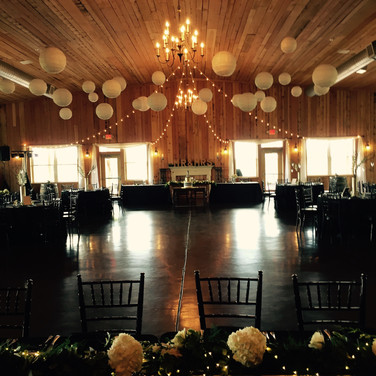 Black linens with white flowers