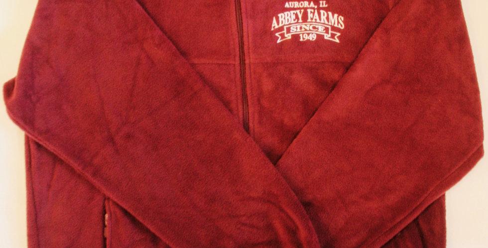 Abbey Farms Full Sleeve Zip Fleece: Maroon