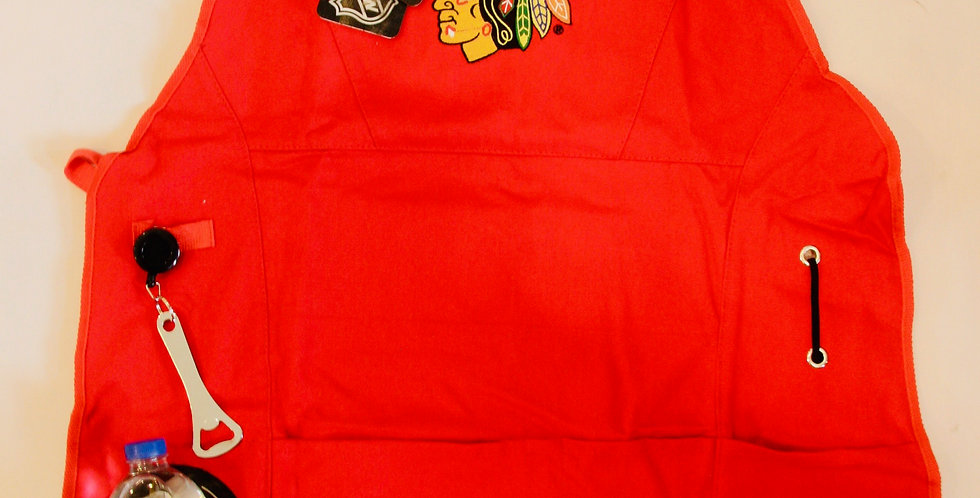 Official Blackhawks Grilling Apron with Beverage Pocket and Opener