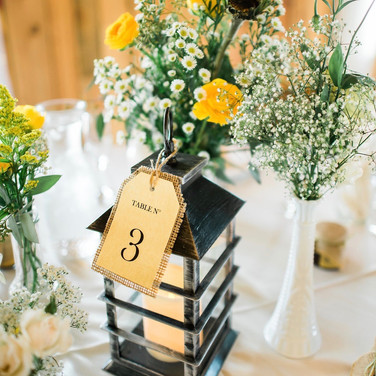 Yellow and white decorations
