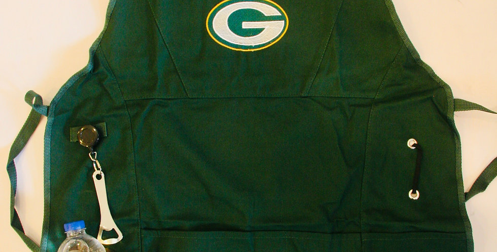 Official Green Bay Packers Grilling Apron with Beverage Pocket and Opener