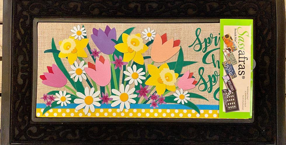 Spring Has Sprung Burlap Sassafras Switch Mat