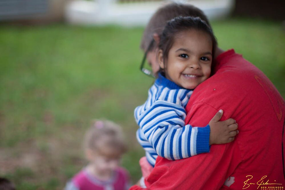 Shade for Children visiting orphaned children