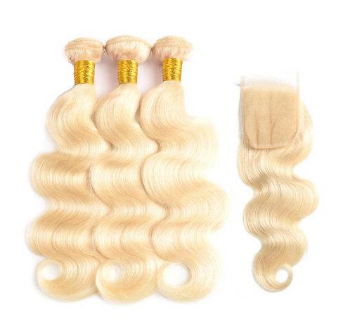 613 Blonde 3 Bundles w/Closure