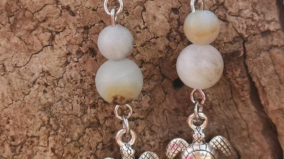Amonzonite and turtle earrings
