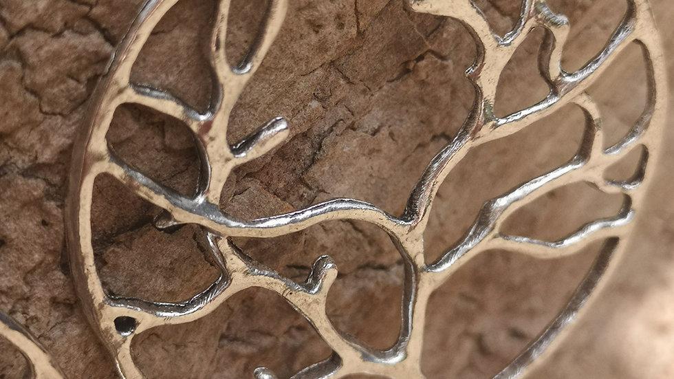 Tree of life hoop earrings.