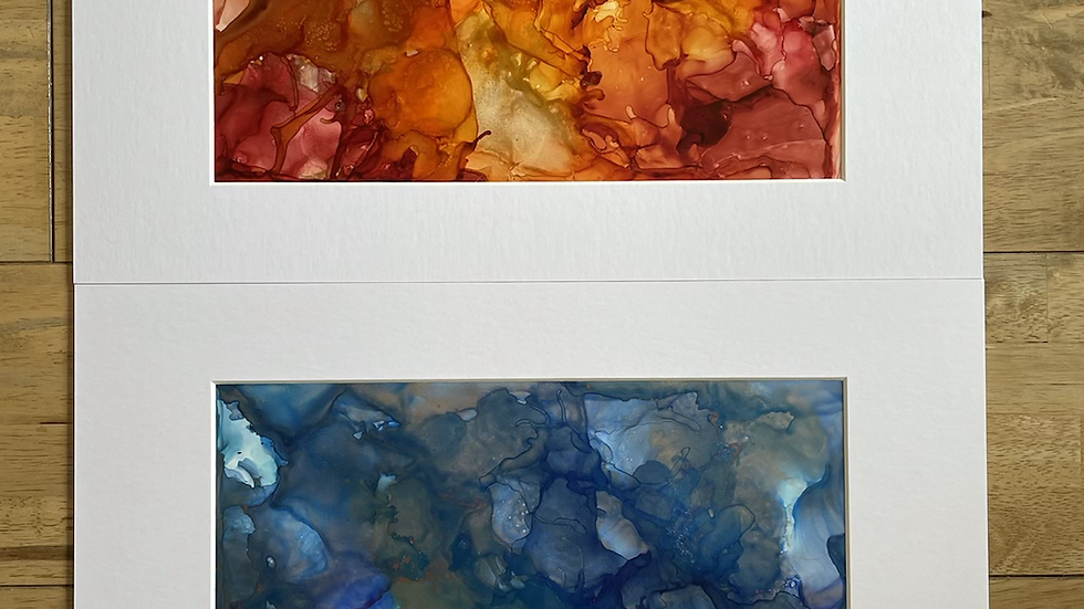 Fire and Ice.. set of 2 paintings