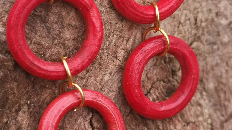 Red hoop dangle earrings