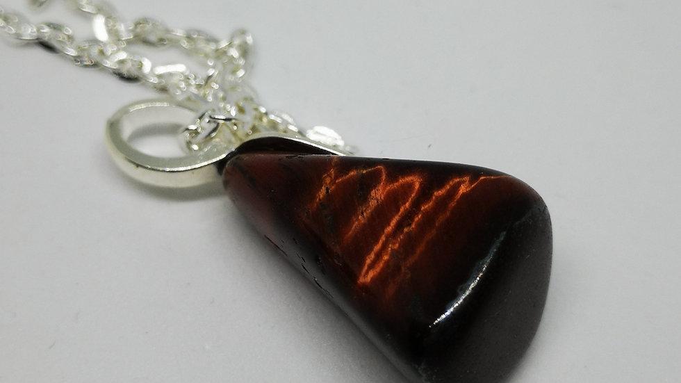 Tiger's Eye stone pendant necklace