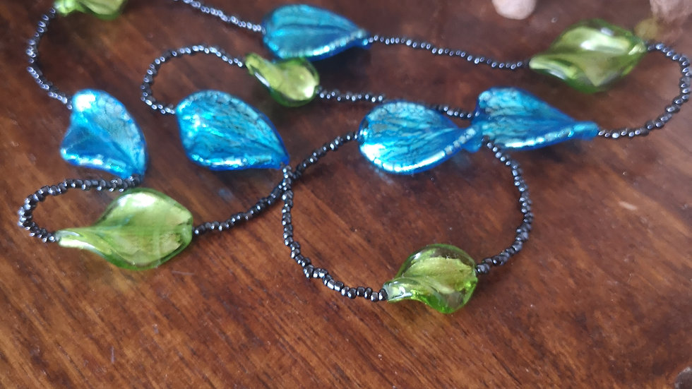 Long blue and lime green necklace