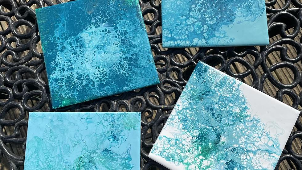 Set of 4 original hand painted ceramic tiles
